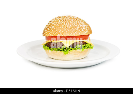 appetizing cheeseburger with red onion isolated - Stock Photo