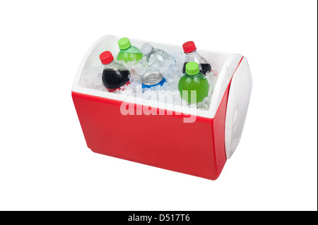An isolated ice chest cooler filled with ice and soft drinks such as water and soda. - Stock Photo