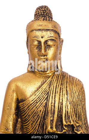portrait of Buddha figure isolated over white background - Stock Photo