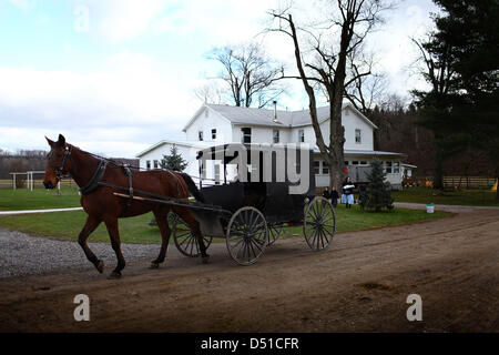 Dec 05, 2012 - Bergholz, Ohio, U.S. - Women start to arrive at the Mullet farmhouse outside Bergholz, Ohio for an - Stock Photo