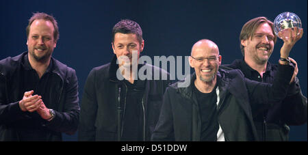 German hip hop group 'Die Fantastischen Vier' receives a '1Live Krone' award in the category 'best album' at the - Stock Photo