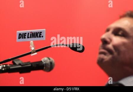The chairman of the left party 'Die Linke', Klaus Ernst, speaks during the Bavarian party meeting in Asbach-Bauemenheim, - Stock Photo