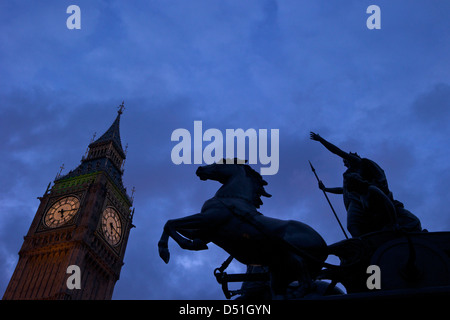 Horse and chariot statue of Queen Boudicca with Big Ben, Embankment, Westminster, London, England, UK, GB - Stock Photo