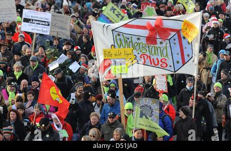 People protest against heavily disputed railway station project Stuttgart 21 in Stuttgart, Germany, 18 December - Stock Photo