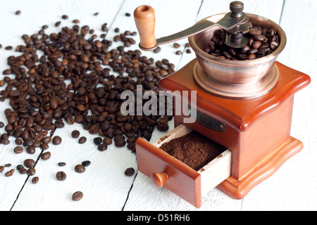Coffee and grinder vintage still life on wooden boards - Stock Photo