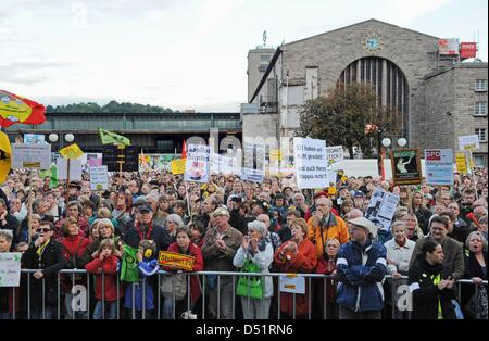People protest against heavily disputed railway station project Stuttgart 21 in Stuttgart, Germany, 27 September - Stock Photo
