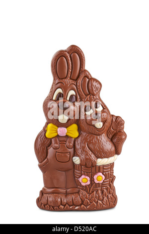 Easter couple of chocolate bunnies on white background - Stock Photo
