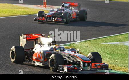 British formula one driver Lewis Hamilton (front) of Team McLaren Mercedes and his teammate British formula one - Stock Photo