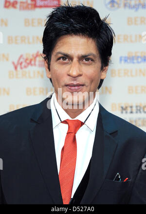 The Indian actor Shahrukh Khan poses during a press conference at the event venue Friedrichstadtpalast in Berlin, - Stock Photo
