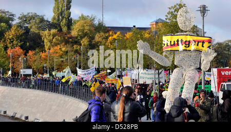 People protest against heavily disputed railway station project Stuttgart 21 outside the central station of Berlin, - Stock Photo