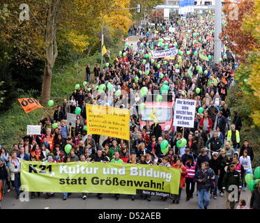 Thousands of people protest against the heavily disputed railway station project Stuttgart 21 outside the central - Stock Photo