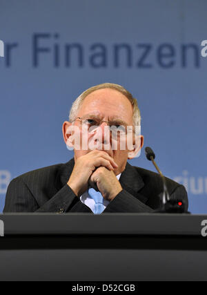 German Finance Minister Wolfgang Schaeuble speaks to journalists concerning the results of the tax appraisal at - Stock Photo