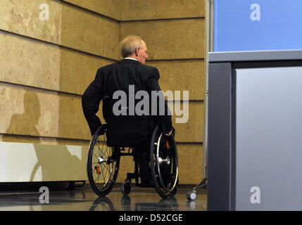 German Finance Minister Wolfgang Schaeuble attends a press conference concerning the results of the tax appraisal - Stock Photo