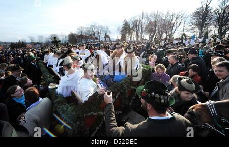 Pferdewagen und tausende Besucher stehen am Samstag (06.11.2009) bei der traditionellen Leonhardifahrt auf einer - Stock Photo