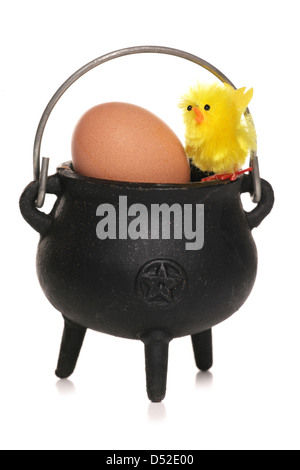 easter chick and egg in a cauldron studio cut out - Stock Photo