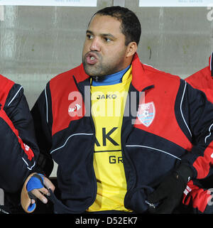 Former Bundesliga topscorer Ailton sits on the bench of KFC Uerdingen at the 'Grotenburg Kampfbahn' in Krefeld, - Stock Photo
