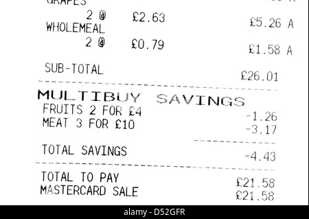Supermarket shopping bill till receipt showing multi buy savings (important in the age of austerity) - Stock Photo
