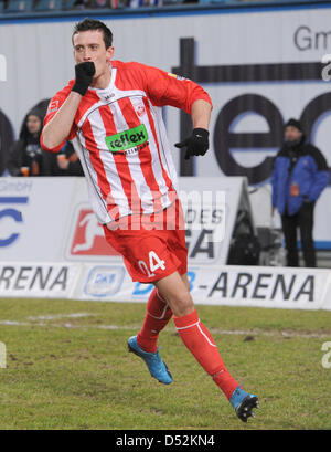 Ahlen's Julian Jenner celebrates his 1-0 score during the German Bundesliga second division match FC hanse Rostock - Stock Photo
