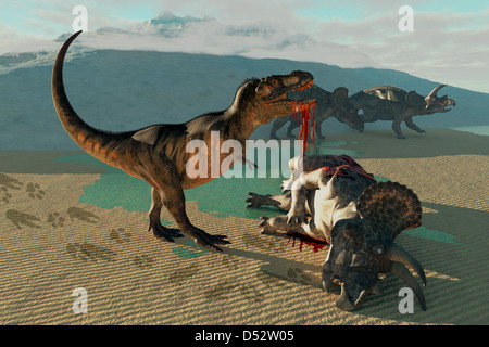Two Triceratops are highly upset as a Tyrannosaurus Rex kills and devours their friend. - Stock Photo