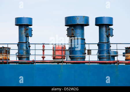 ship hull ventilation blue side - Stock Photo