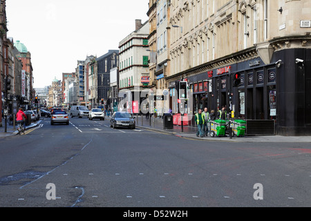 View looking West along Trongate towards Argyle Street in Glasgow city centre, Scotland, UK - Stock Photo