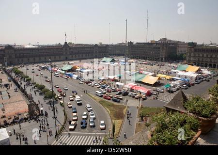 Mexico City, Mexico, overlooking the Plaza de la Constitucion - Stock Photo
