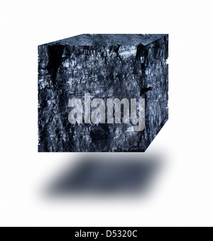 Coal cube floating in air over white background - Stock Photo