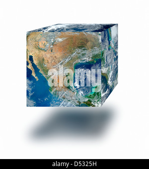 Earth cube floating - Stock Photo