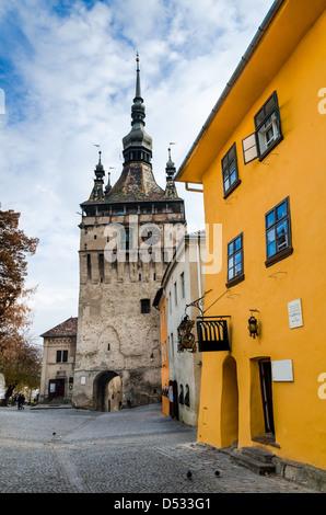 Sighisoara, Clock Tower, saxon landmark of Transylvania in Romania - Stock Photo