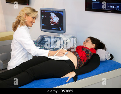 Duesseldorf, Germany, ultrasound scan of a pregnant woman at Medica - Stock Photo