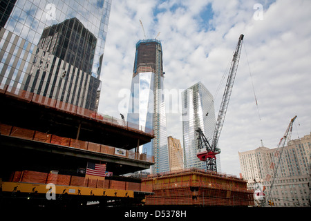 New York City, USA, is currently under construction One World Trade Center at Ground Zero - Stock Photo