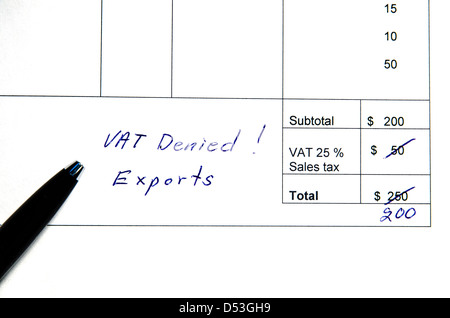 Detail from an invoice with the total amount changed because incorrect VAT, exports. - Stock Photo