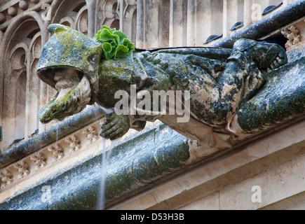TOLEDO - MARCH 8: Detail of monk as gothic spouter at work from atrium of Monasterio de San Juan de los Reyes on - Stock Photo