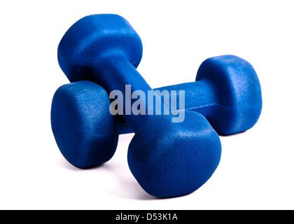 Two blue dumbbells isolated on a white background - Stock Photo
