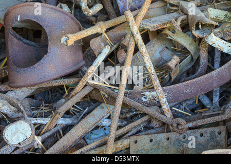 Scrap metal close up in scrap yard - Stock Photo