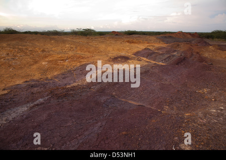 Eroded soil in Sarigua national park (desert), Herrera province, Republic of Panama. - Stock Photo