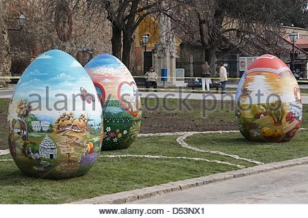 Zagreb,Croatia. 23rd March 2013. Croatian Easter from the Heart next to the Zagreb Cathedral. Theye were painted - Stock Photo