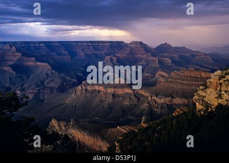 South Rim Grand Canyon taken near Yaki Point sunset light on rock formations Arizona State - Stock Photo