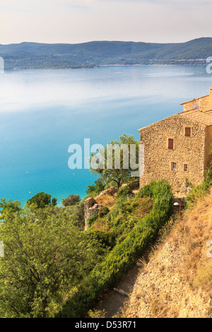 View over Lac de Sainte Croix, Verdon, Provence, France - Stock Photo