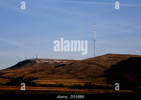 Television masts on top of Winter Hill in winter Rivington near Horwich Bolton Lancashire England - Stock Photo