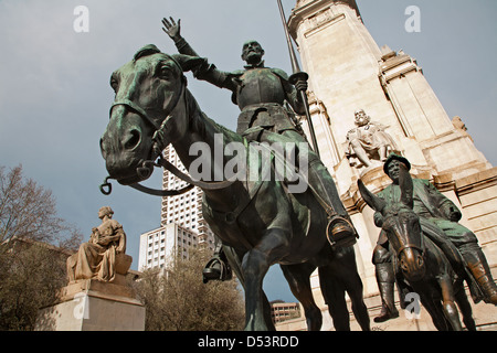 Madrid - Don Quixote and Sancho Panza from Cervantes memorial by sculptor Lorenzo Coullaut Valera (1925 - 1930) - Stock Photo