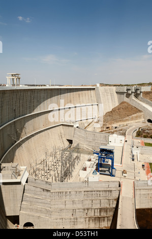 Overview of the downstream side of Alqueva dam in Guadiana river, Alentejo, Portugal
