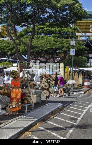 Shopping at the Aloha Stadium Swap Meet. - Stock Photo