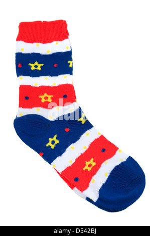 Striped socks are photographed on the white background - Stock Photo