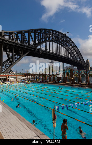 North Sydney Olympic Pool, with Harbour Bridge and CBD in ...