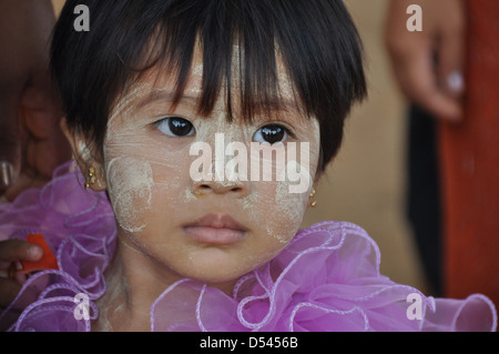 Myanmar, portrait of a young girl - Stock Photo