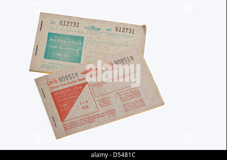 Petrol ration books, from 1973. - Stock Photo