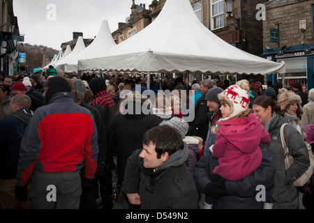 Ramsbottom, Lancashire, UK Sunday 24th March, 2013. Crowds at the 5th Annual Chocolate Festival, held in Bridge - Stock Photo