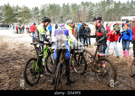 Sherwood Pines,Notts.UK. 24th March 2013. Series 1 of the British cycling national cross country MTB, Round 1. Competiters - Stock Photo
