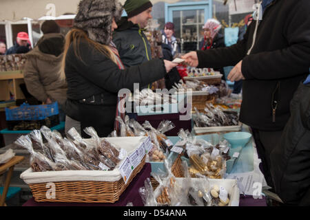 Ramsbottom, Lancashire, UK Sunday 24th March, 2013. Goods for sale at the 5th Annual Chocolate Festival, held in - Stock Photo